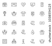 charity elements outline icons... | Shutterstock .eps vector #1038554125