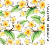 watercolor seamless tropical... | Shutterstock . vector #1038554977