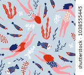 cute hand drawn repeat pattern... | Shutterstock .eps vector #1038555445