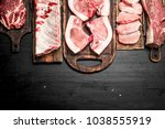 different types of raw pork... | Shutterstock . vector #1038555919