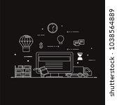 flat design black and white... | Shutterstock .eps vector #1038564889