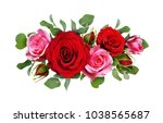 red and pink rose flowers with... | Shutterstock . vector #1038565687