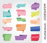 set of origami paper banners. | Shutterstock .eps vector #1038569599