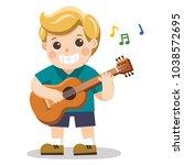 a cheerful boy playing guitar... | Shutterstock .eps vector #1038572695