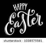 happy easter poster with hand... | Shutterstock .eps vector #1038575581