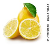 lemon fruit slice with leaf... | Shutterstock . vector #1038578665