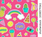 seamless pattern with funny... | Shutterstock .eps vector #1038579361