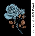 embroidery rose branch. craft.... | Shutterstock .eps vector #1038580441