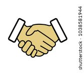 vector handshake icon. business ... | Shutterstock .eps vector #1038581944