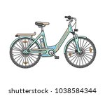 city electric bicycle. vector... | Shutterstock .eps vector #1038584344