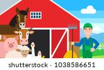 farm animals farmer red barn | Shutterstock .eps vector #1038586651
