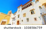 sitges town hall and church ... | Shutterstock . vector #1038586759