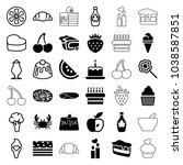 delicious icons. set of 36... | Shutterstock .eps vector #1038587851