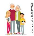 senior couple with grandchildren | Shutterstock .eps vector #1038587941
