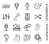sound icons. set of 16 editable ... | Shutterstock .eps vector #1038588919