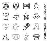 newborn icons. set of 16... | Shutterstock .eps vector #1038589054