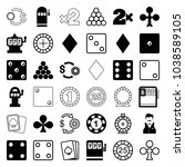 gamble icons. set of 36... | Shutterstock .eps vector #1038589105