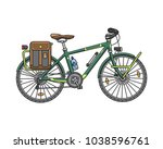 bicycle for adventures and... | Shutterstock .eps vector #1038596761