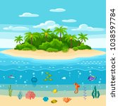 illustration of tropical island ... | Shutterstock .eps vector #1038597784