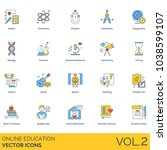 online education vector icons.... | Shutterstock .eps vector #1038599107