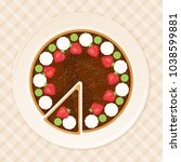 delicious cake with... | Shutterstock .eps vector #1038599881