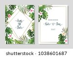 floral set. wedding invitation  ... | Shutterstock .eps vector #1038601687
