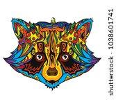 colorful ornament line art face ... | Shutterstock .eps vector #1038601741