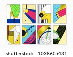 colorful trend neo memphis... | Shutterstock .eps vector #1038605431