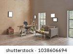 decorative modern home office...   Shutterstock . vector #1038606694