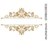 vintage gold frame on a white... | Shutterstock . vector #1038610831