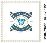 seafood restaurant logo vector... | Shutterstock .eps vector #1038614155