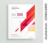 trendy red geometric brochure... | Shutterstock .eps vector #1038616885