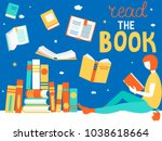 young girl is reading book.... | Shutterstock .eps vector #1038618664