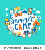 summer camp concept with... | Shutterstock .eps vector #1038618685
