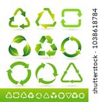 set of recycled cycle arrows... | Shutterstock .eps vector #1038618784