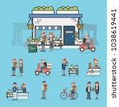 illustration of flower shop  | Shutterstock . vector #1038619441