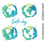 22 april. earth day. vector... | Shutterstock .eps vector #1038621664