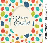happy easter   card with wishes ... | Shutterstock .eps vector #1038622711
