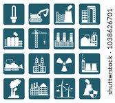 industrial icon set vector... | Shutterstock .eps vector #1038626701
