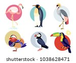 birds puffin  mandarin duck ... | Shutterstock .eps vector #1038628471