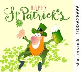 happy st patricks leprechaun... | Shutterstock .eps vector #1038628699