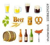 set of cartoon beer  mugs ... | Shutterstock . vector #1038629329
