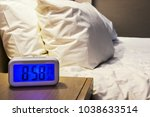 electronic alarm clock stands... | Shutterstock . vector #1038633514