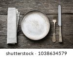 table setting with vintage... | Shutterstock . vector #1038634579