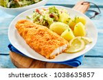 piece of fresh crispy breaded... | Shutterstock . vector #1038635857