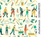 people working in garden design ... | Shutterstock .eps vector #1038639325