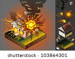 Casa isométrica afectado por explosión - vector stock