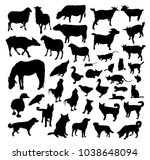 farm animals vector silhouettes | Shutterstock .eps vector #1038648094