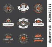 sushi restaurant logos set... | Shutterstock .eps vector #1038651511