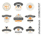 barbecue restaurant logos and... | Shutterstock .eps vector #1038651937